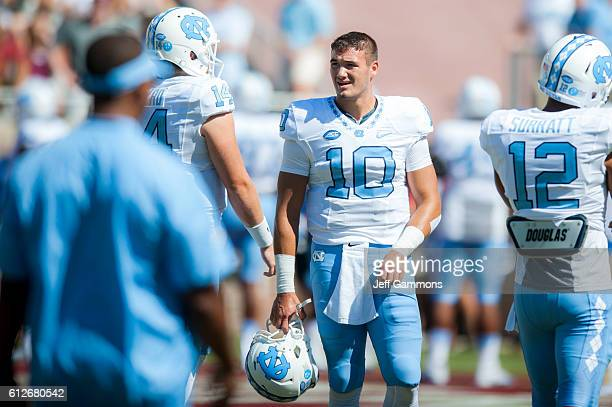 Mitch Trubisky of the North Carolina Tar Heels practices before the game against the Florida State Seminoles at Doak Campbell Stadium on October 1...