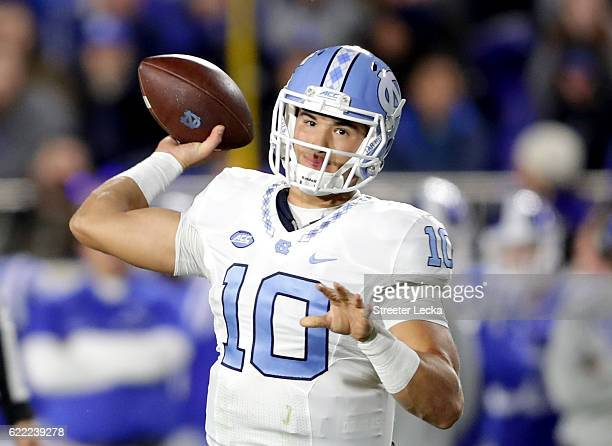 Mitch Trubisky of the North Carolina Tar Heels thows a pass against the Duke Blue Devils during their game at Wallace Wade Stadium on November 10...