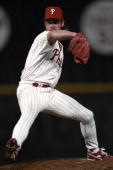 Mitch Williams of the Philadelphia Phillies pitches during the National League Championship Series against the Atlanta Braves on October 6 1993 in...
