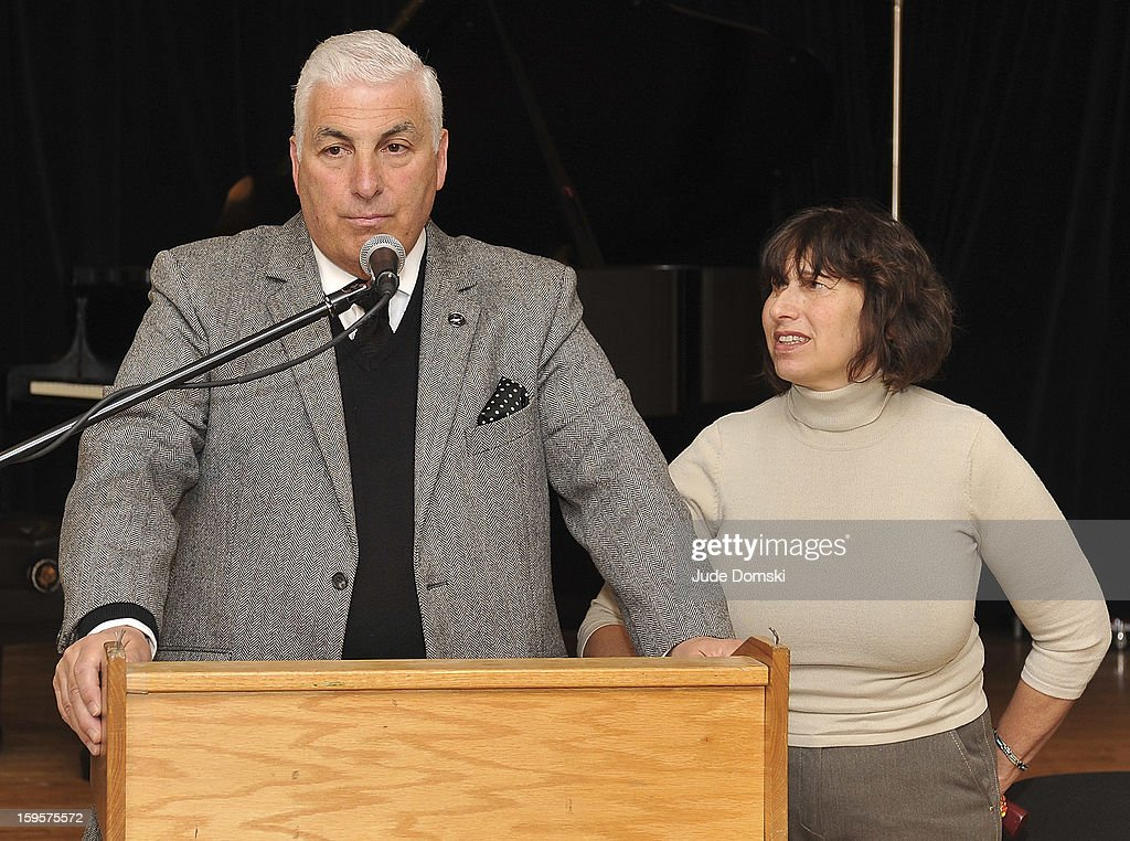 Mitch Winehouse and Janis Winehouse attend the Amy Winehouse Foundation grant presentation at the Brooklyn Conservatory of Music on January 16, 2013 in the Brooklyn borough of New York City.