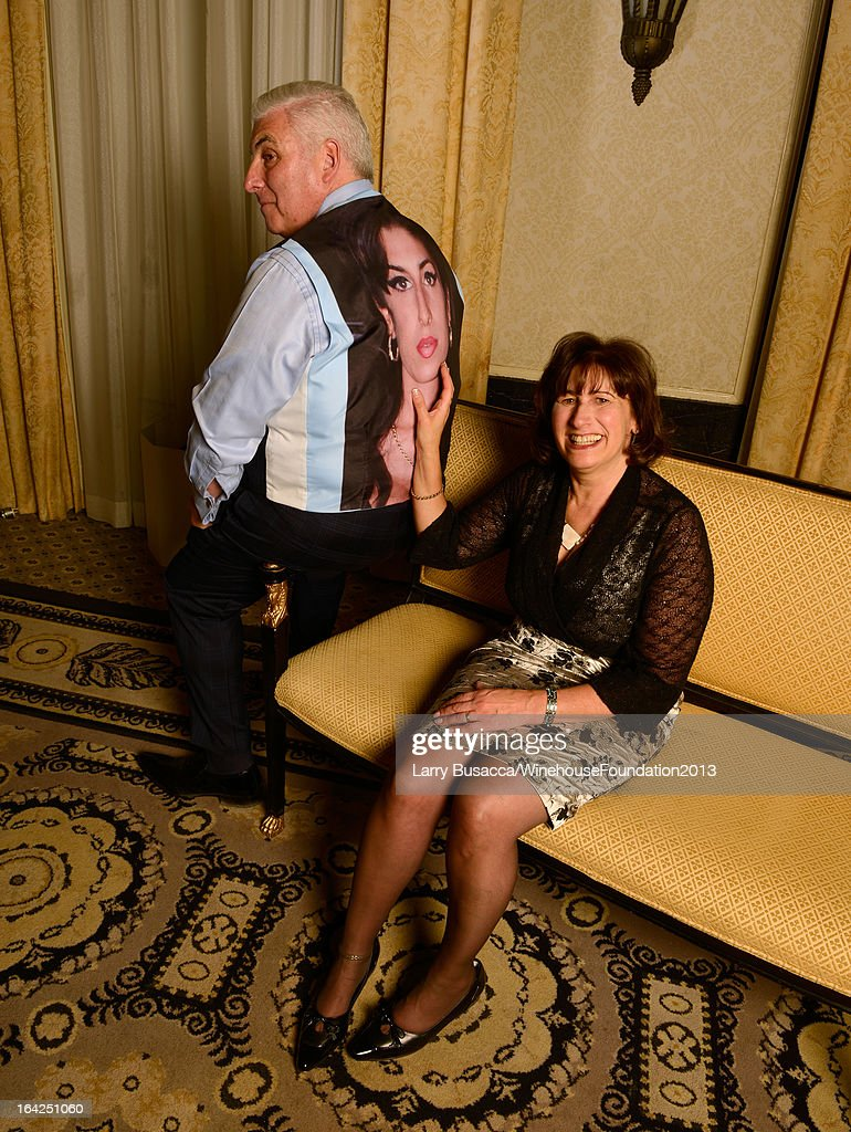 Mitch Winehouse and Janis Winehouse Collins pose for a portrait during the 2013 Amy Winehouse Foundation Inspiration Awards and Gala at The Waldorf=Astoria on March 21, 2013 in New York City. Mitch Winehouse is wearing a custom vest with Amy Winehouse's portrait on the back.