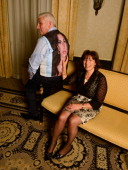Mitch Winehouse and Janis Winehouse Collins pose for a portrait during the 2013 Amy Winehouse Foundation Inspiration Awards and Gala at The...