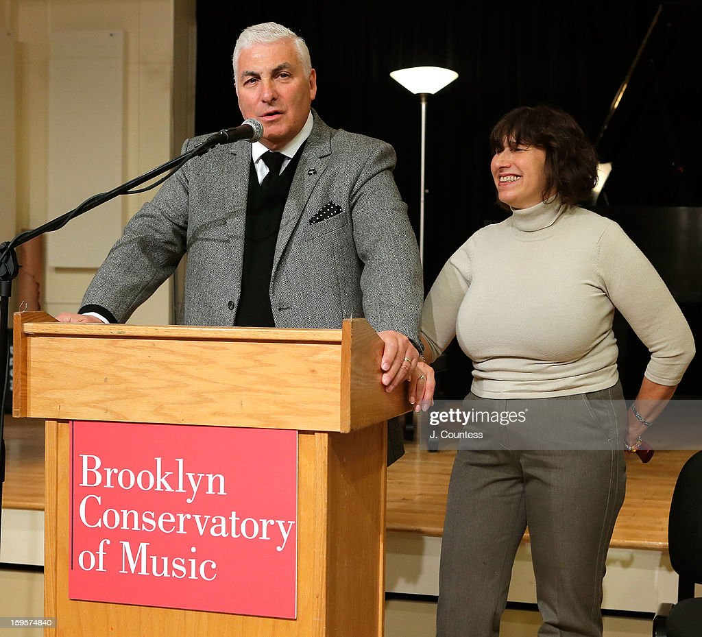 Mitch Winehouse and <a gi-track='captionPersonalityLinkClicked' href=/galleries/search?phrase=Janis+Winehouse&family=editorial&specificpeople=4878411 ng-click='$event.stopPropagation()'>Janis Winehouse</a> speak during a grant award presentation by the The Amy Winehouse Foundation at the Brooklyn Conservatory of Music on January 16, 2013 in New York City.