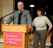Mitch Winehouse and Janis Winehouse speak during a grant award presentation by the The Amy Winehouse Foundation at the Brooklyn Conservatory of Music...