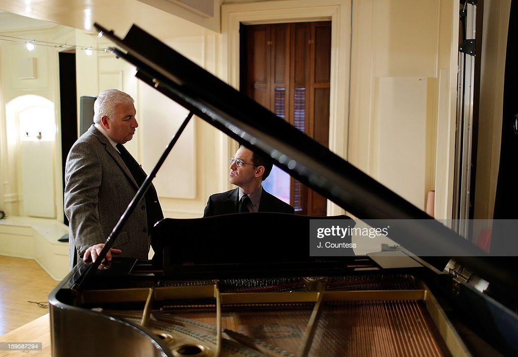 Mitch Winehouse and musician Roger Lent attend a grant award presentation by the The Amy Winehouse Foundation at the Brooklyn Conservatory of Music on January 16, 2013 in New York City.
