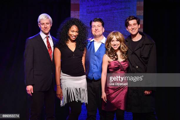 Mitchel Kawash Aiesha Alia Dukes James Higgins Mia Weinberger and Richard Spitaletta pose onstage at the 'ME THE PEOPLE The Trump America Musical'...