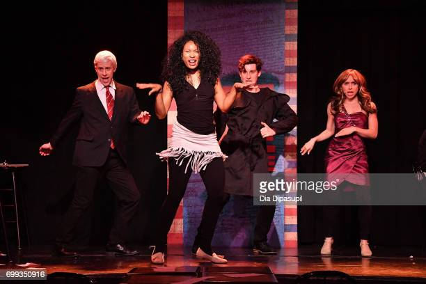 Mitchel Kawash Aiesha Alia Dukes Richard Spitaletta and Mia Weinberger perform onstage during the 'ME THE PEOPLE The Trump America Musical' Press...