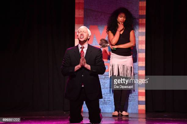 Mitchel Kawash and Aiesha Alia Dukes perform onstage during the 'ME THE PEOPLE The Trump America Musical' Press Preview Presentation at The Triad...