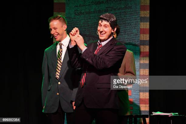 Mitchel Kawash and Richard Spitaletta perform onstage during the 'ME THE PEOPLE The Trump America Musical' Press Preview Presentation at The Triad...
