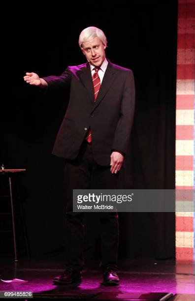 Mitchel Kawash as Mike Pence performs onstage during the 'ME THE PEOPLE The Trump America Musical' Press Preview Presentation at The Triad Theater on...