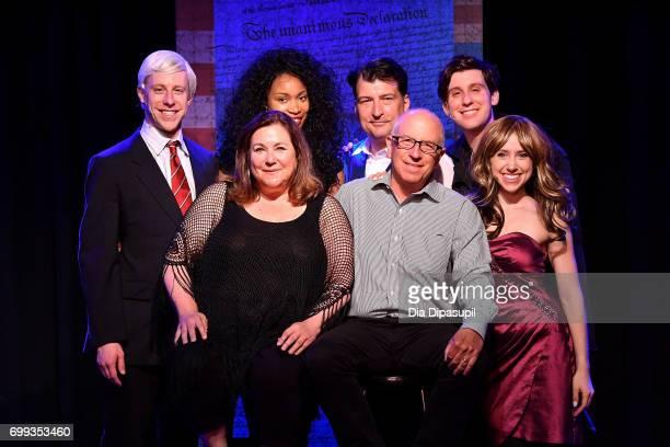 Mitchel Kawash Nancy Holson Aiesha Alia Dukes James Higgins Jim Russek Richard Spitaletta and Mia Weinberger pose onstage at the 'ME THE PEOPLE The...