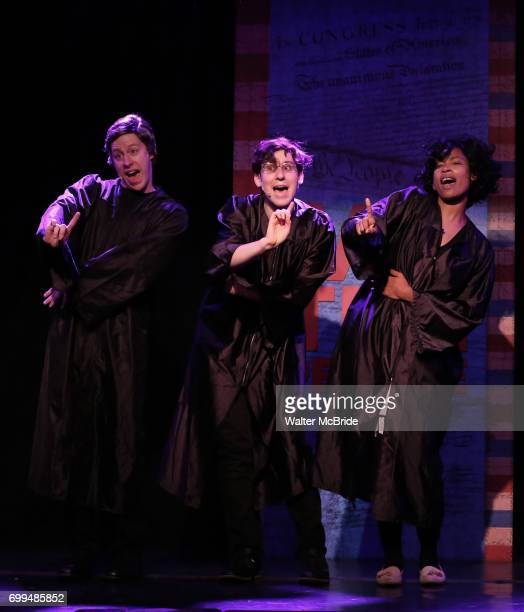Mitchel Kawash Richard Spitaletta and Aiesha Du perform onstage during the 'ME THE PEOPLE The Trump America Musical' Press Preview Presentation at...