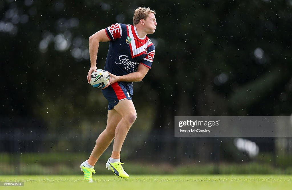 Mitchell Aubusson of the Roosters warms up during a Sydney Roosters NRL training session at Moore Park on June 1, 2016 in Sydney, Australia.