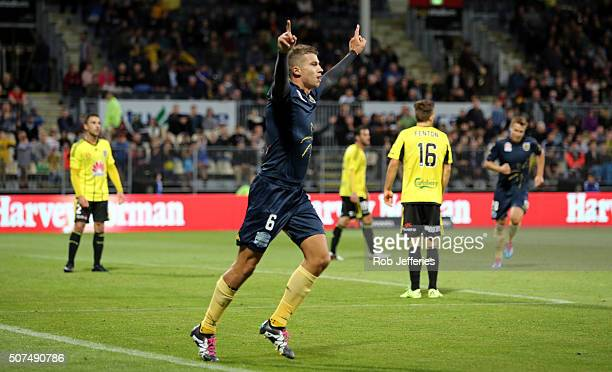Mitchell Austin of the Central Coast Mariners celebrates his goal during the round 17 ALeague match between the Wellington Phoenix and the Central...