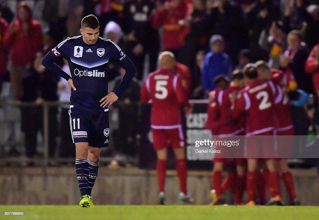 Mitchell Austin of the Victory looks on dejected during the round of 16 FFA Cup match between Adelaide United and Melbourne Victory at Marden Sports Complex on August 23, 2017 in Adelaide, Australia.