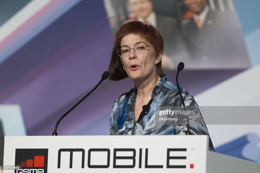 Mitchell Baker, chairperson of Mozilla Foundation, speaks during a keynote address at the Mobile World Congress in Barcelona, Spain, on Tuesday, Feb. 26, 2013. The Mobile World Congress, where 1,500 exhibitors converge to discuss the future of wireless communication, is a global showcase for the mobile technology industry and runs from Feb. 25 through Feb. 28. Photographer: Angel Navarrete/Bloomberg via Getty Images