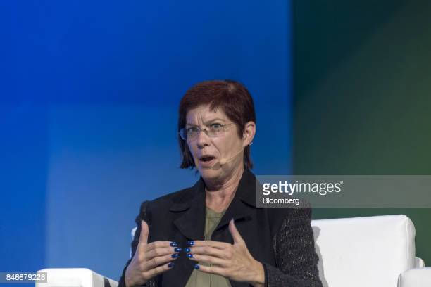Mitchell Baker executive chairwoman of Mozilla Corp speaks during the Mobile World Conference Americas event in San Francisco California US on...