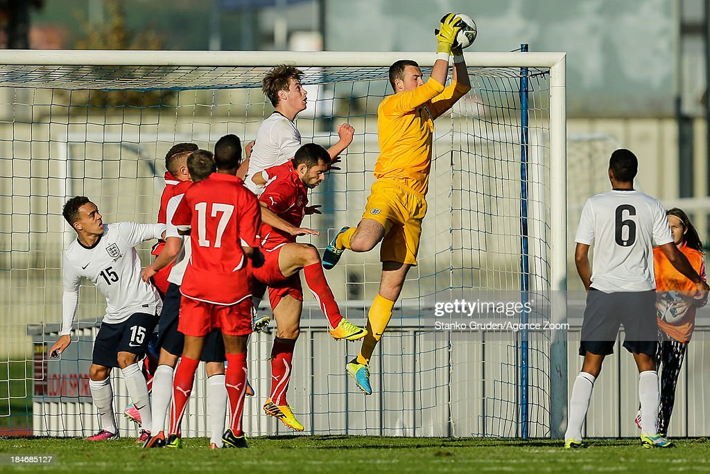 Mitchell Beeney of England during the UEFA U19 Championships Qualifier between England and Switzerland, on October 15, 2013 in Ptuj, Slovenia.