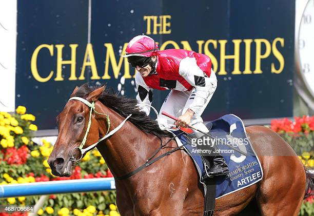 Mitchell Bell rides Artlee to win race 4 The Country Championship Final during Sydney Racing at Royal Randwick Racecourse on April 6 2015 in Sydney...