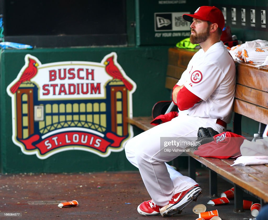 Mitchell Boggs #41 of the St. Louis Cardinals reacts to the loss in the dugout in the ninth inning against the Cincinnati Reds during Opening Day on April 8, 2013 at Busch Stadium in St. Louis, Missouri. The Cincinnati Reds defeated the St. Louis Cardinals 13-4.
