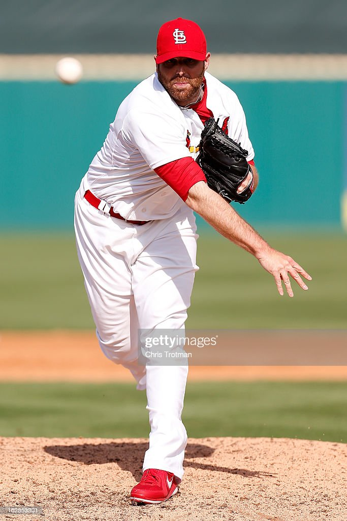<a gi-track='captionPersonalityLinkClicked' href=/galleries/search?phrase=Mitchell+Boggs&family=editorial&specificpeople=4948327 ng-click='$event.stopPropagation()'>Mitchell Boggs</a> #41 of the St. Louis Cardinals throws a pitch during a game against the Miami Marlins at the Roger Dean Stadium on February 28, 2013 in Jupiter, Florida.