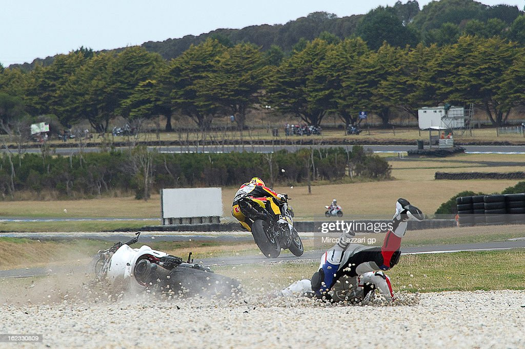 Mitchell Carr of Australia and Aark Racing crashed out during the free practice of Supersport FIM World Championaship at Phillip Island Grand Prix Circuit on February 22, 2013 in Phillip Island, Australia.