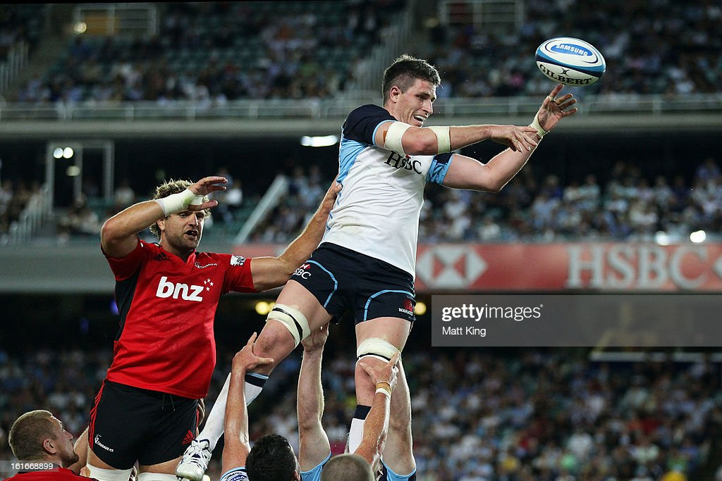 Mitchell Chapman of the Waratahs jumps at the lineout during the Super Rugby trial match between the Waratahs and the Crusaders at Allianz Stadium on February 14, 2013 in Sydney, Australia.