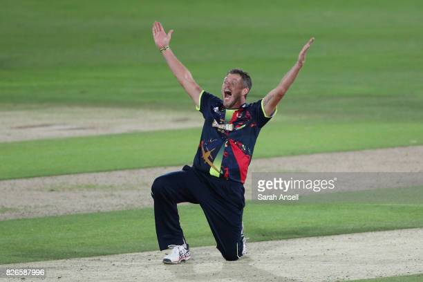 Mitchell Claydon of Kent Spitfires appeals unsuccessfully for a wicket during the match between Kent Spitfires and Sussex Sharks at The Spitfire...