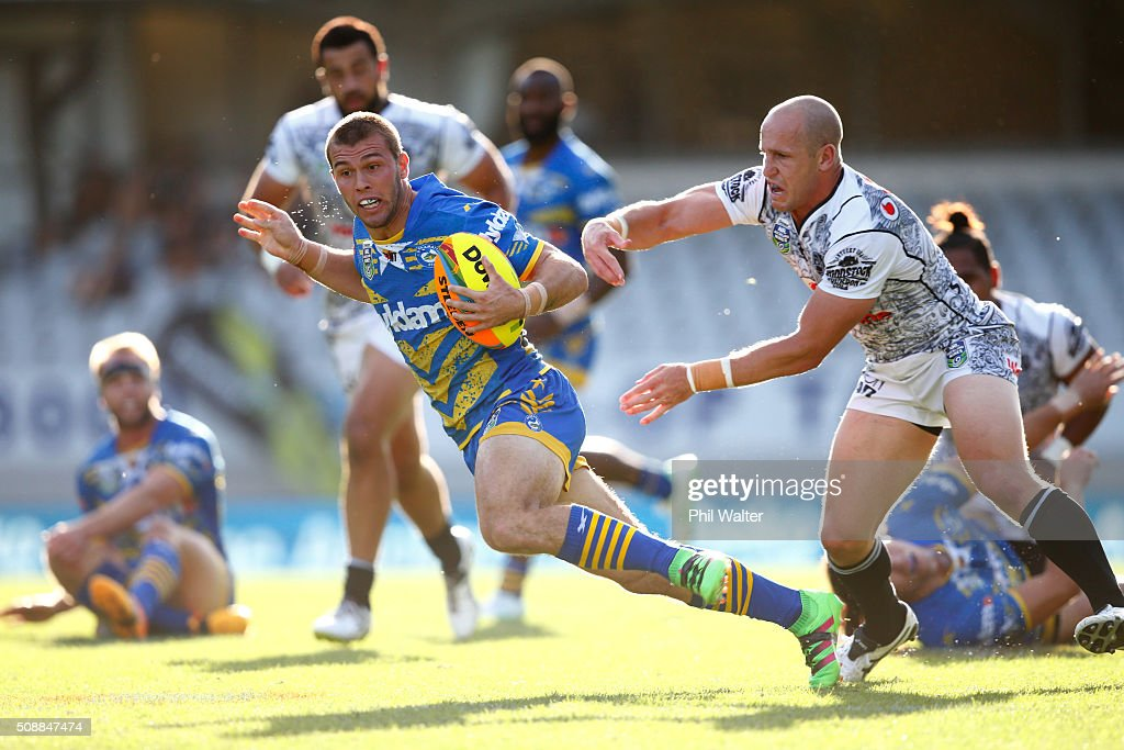 Mitchell Cornish of the Eels breaks away during the final match between the New Zealand Warriors and the Parramatta Eels at the 2016 NRL Auckland Nines at Eden Park on February 7, 2016 in Auckland, New Zealand.