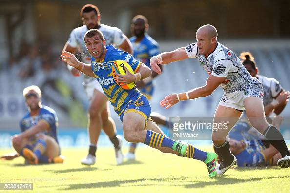 Mitchell Cornish of the Eels breaks away during the final match between the New Zealand Warriors and the Parramatta Eels at the 2016 NRL Auckland...