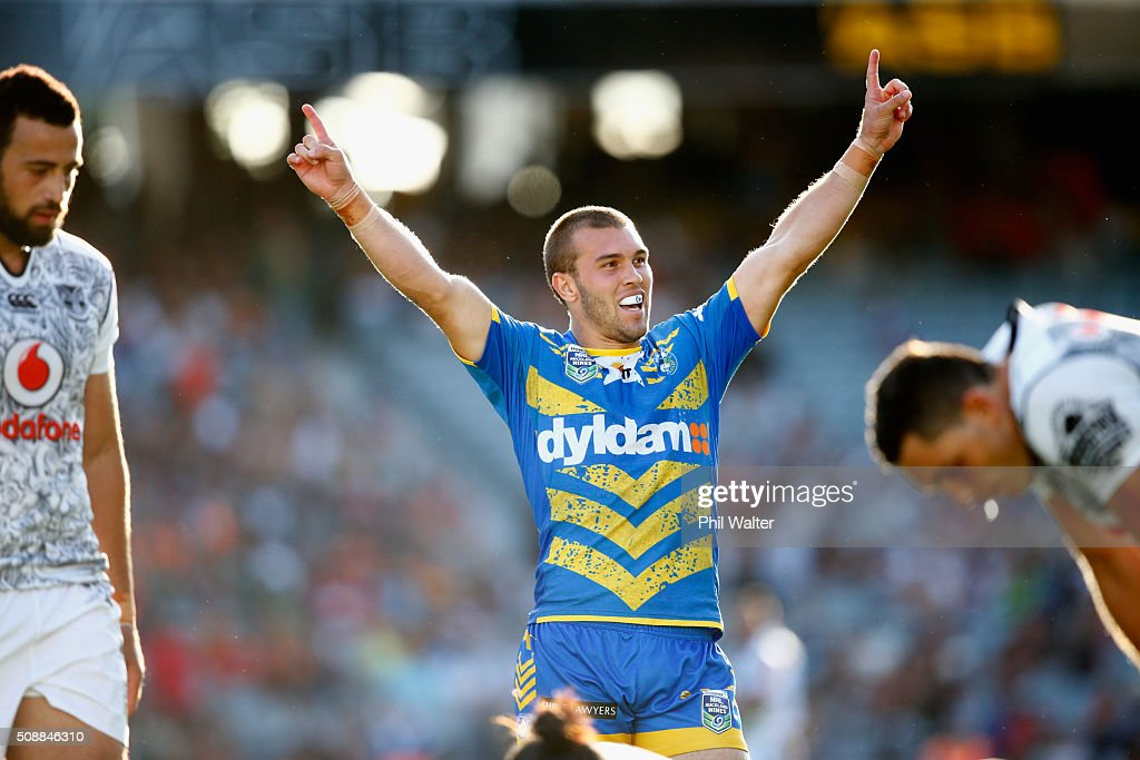 Mitchell Cornish of the Eels celebrates on the final whistle during the final match between the New Zealand Warriors and the Parramatta Eels at the 2016 NRL Auckland Nines at Eden Park on February 7, 2016 in Auckland, New Zealand.
