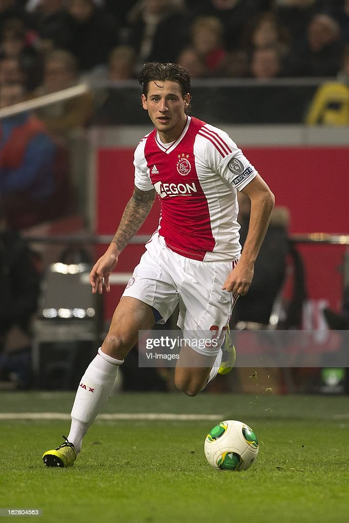 Mitchell Dijks of Ajax during the Dutch Cup match between Ajax Amsterdam and AZ Alkmaar at the Amsterdam Arena on february 27, 2013 in Amsterdam, The Netherlands