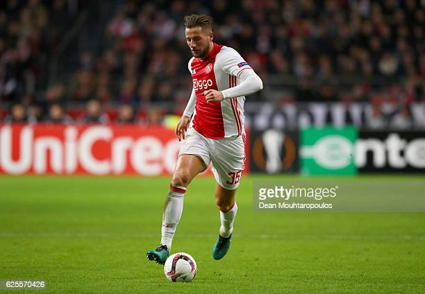 Mitchell Dijks of Ajax in action during the UEFA Europa League Group G match between AFC Ajax and Panathinaikos FC at Amsterdam Arena on November 24...