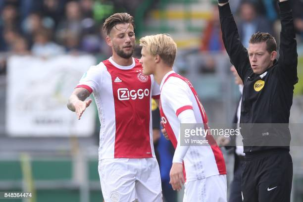 Mitchell Dijks of Ajax Kasper Dolberg of Ajax during the Dutch Eredivisie match between ADO Den Haag and Ajax Amsterdam at Car Jeans stadium on...