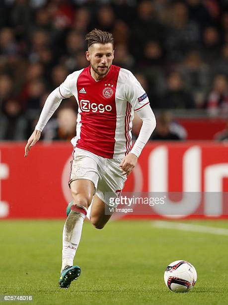 Mitchell Dijks of Ajaxduring the UEFA Europa League group G match between Ajax Amsterdam and Panathinaikos FC at the Amsterdam Arena on November 24...