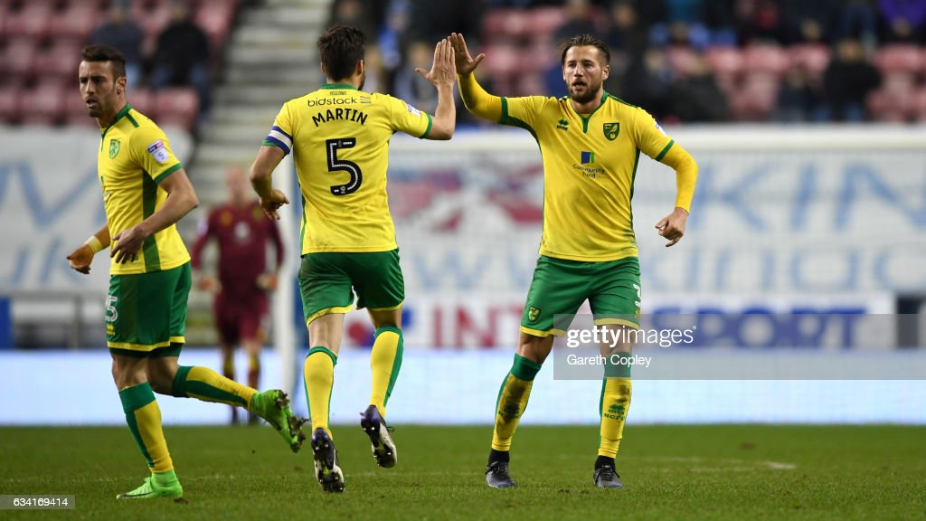 Mitchell Dijks of Norwich celebrates scoring his team's 2nd goal during the Sky Bet Championship match between Wigan Athletic and Norwich City at DW Stadium on February 7, 2017 in Wigan, England.
