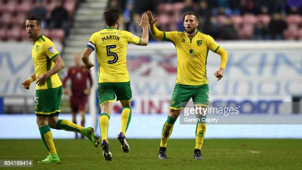 Mitchell Dijks of Norwich celebrates scoring his team's 2nd goal during the Sky Bet Championship match between Wigan Athletic and Norwich City at DW...