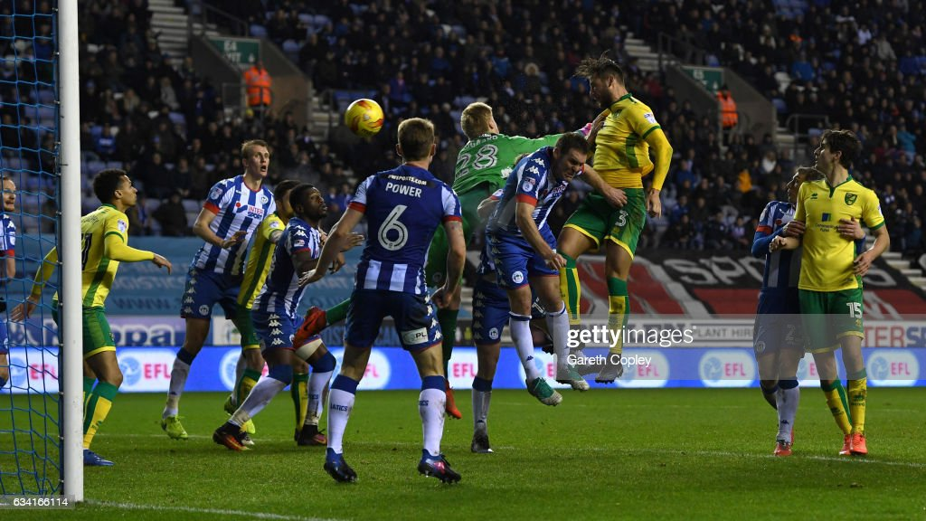 Mitchell Dijks of Norwich scores his team's 2nd goal during the Sky Bet Championship match between Wigan Athletic and Norwich City at DW Stadium on February 7, 2017 in Wigan, England.