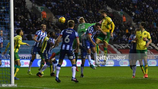 Mitchell Dijks of Norwich scores his team's 2nd goal during the Sky Bet Championship match between Wigan Athletic and Norwich City at DW Stadium on...