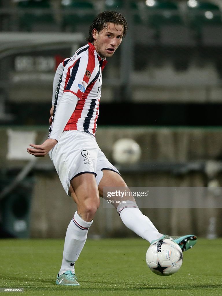 Mitchell Dijks of Willem II during the Dutch Eredivisie match between ADO Den Haag and Willem II Tilburg at Kyocera stadium on November 08 2014 in...