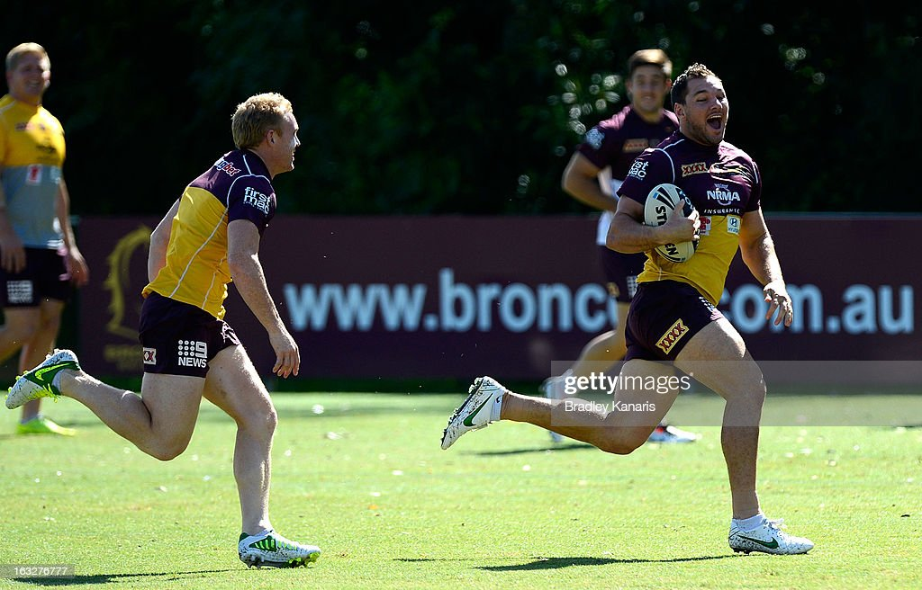 Mitchell Dodds breaks away from the defence during a Brisbane Broncos NRL training session on March 7, 2013 in Brisbane, Australia.