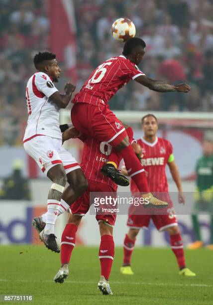 Mitchell Donald of Belgrad and Jhon Cordoba of Koeln and Milos Jojic battle for the ball during the UEFA Europa League group H match between 1 FC...