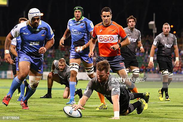 Mitchell Drummond of the Crusaders crosses for a try during the round seven Super Rugby match between the Force and the Crusaders at nib Stadium on...