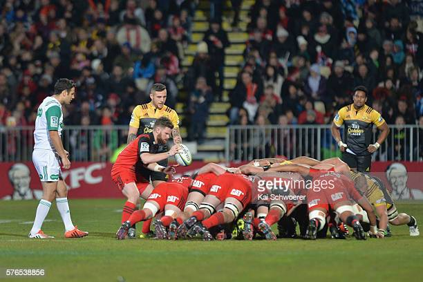 Mitchell Drummond of the Crusaders feeds the scrum during the round 17 Super Rugby match between the Crusaders and the Hurricanes at AMI Stadium on...