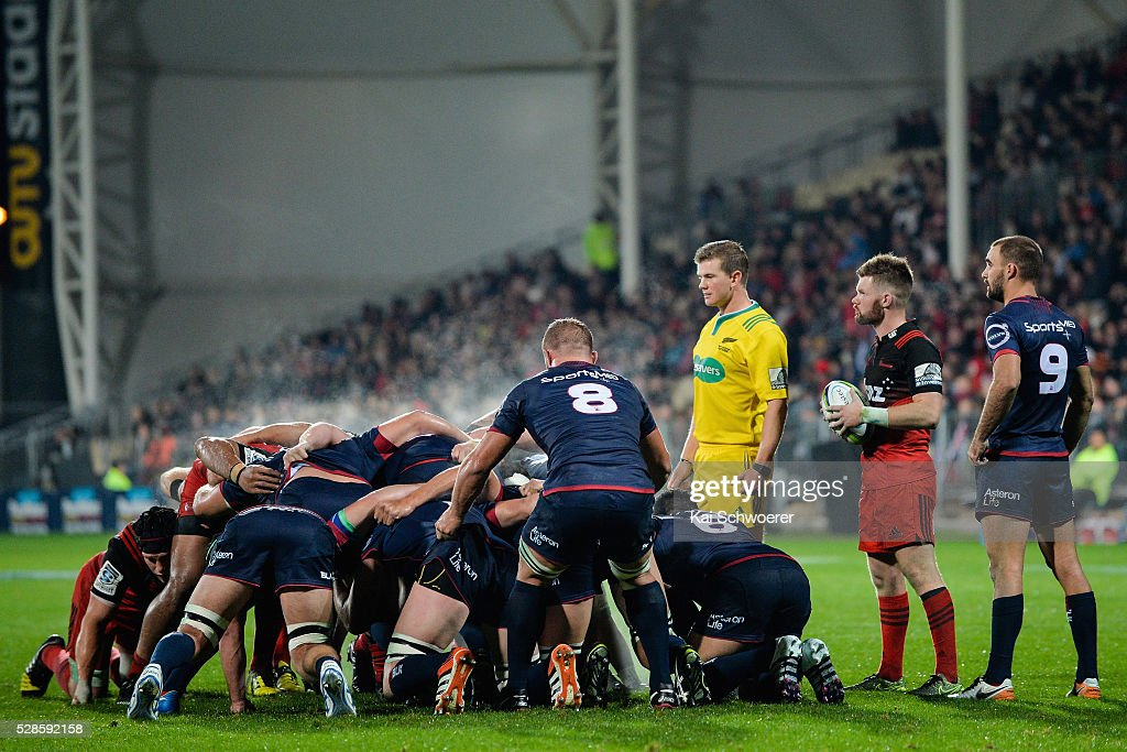 Mitchell Drummond of the Crusaders looks on as the scrum packs during the round 11 Super Rugby match between the Crusaders and the Reds at AMI Stadium on May 6, 2016 in Christchurch, New Zealand.