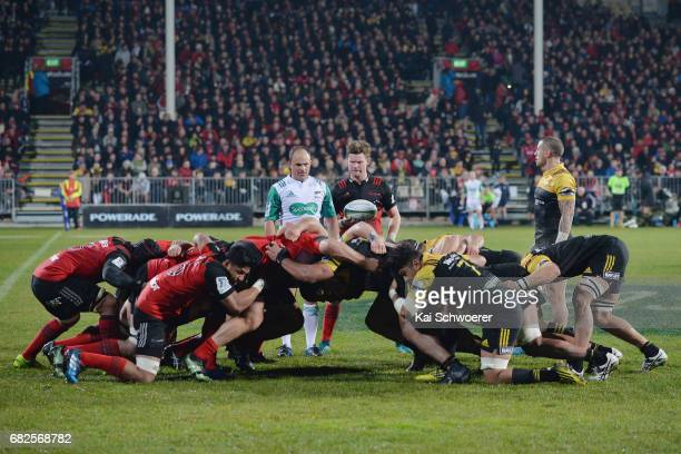 Mitchell Drummond of the Crusaders looks to feed the scrum during the round 12 Super Rugby match between the Crusaders and the Hurricanes at AMI...