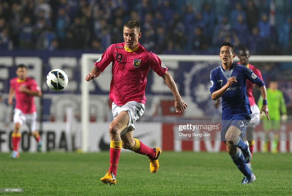 Mitchell Duke of Central Coast Mariners controls the ball during the AFC Champions League Group H match between Suwon Bluewing and Central Coast Mariners at Suwon World Cup Stadium on April 23, 2013 in Suwon, South Korea.