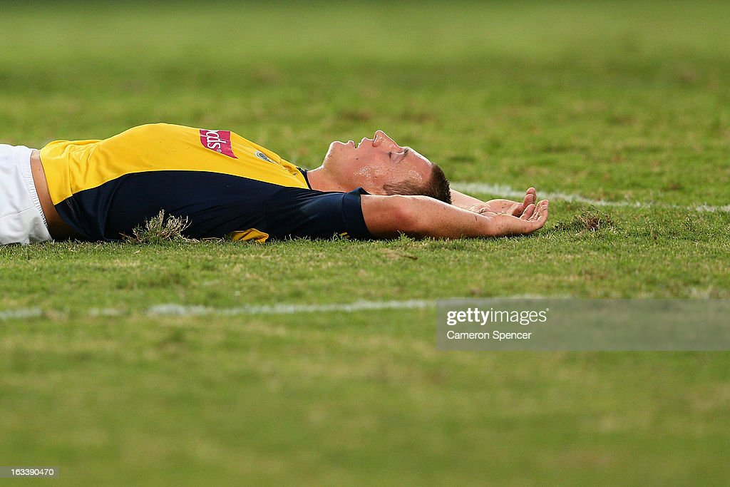 Mitchell Duke of the Mariners lays on the ground after missing a shot at goal during the round 24 A-League match between Sydney FC and the Central Coast Mariners at Allianz Stadium on March 9, 2013 in Sydney, Australia.