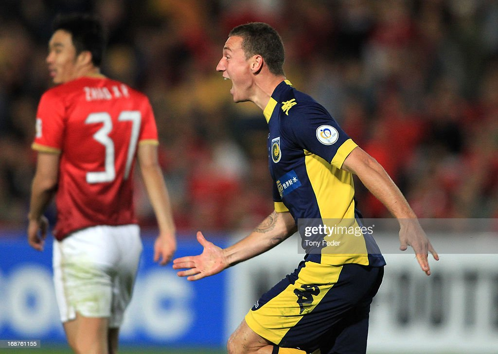 Mitchell Duke of the Marniers celebrates a goal during the AFC Asian Champions League match between the Central Coast Mariners and Guangzhou Evergrande at Bluetongue Stadium on May 15, 2013 in Gosford, Australia.
