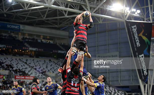 Mitchell Dunshea of Canterbury takes clean lineout ball during the round one ITM Cup match between Otago and Canterbury at Forsyth Barr Stadium on...